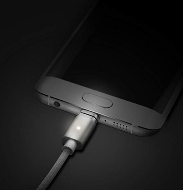 Samsung Type-c Ledli Manyetik Type-c Mıknatıslı Şarj Kablosu