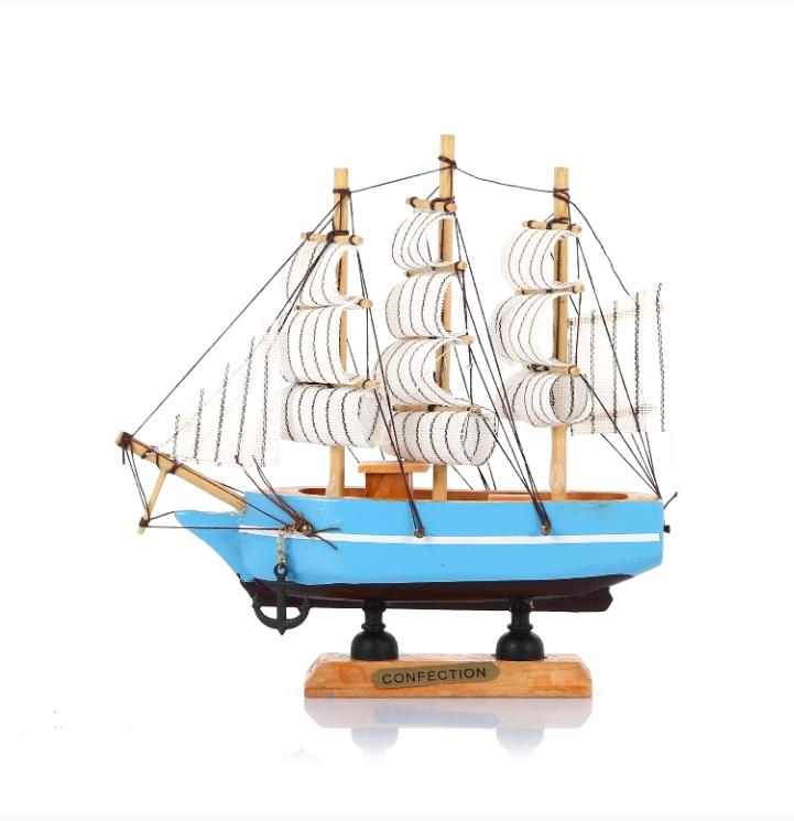 Yelkenli Ahşap Gemi - Çapalı 16Cm Mavi-Lacivert-Siyah