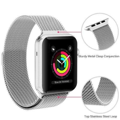 Apple Watch  42mm 44mm Çelik Mıknatıslı  Kordon-Gümüş Renk