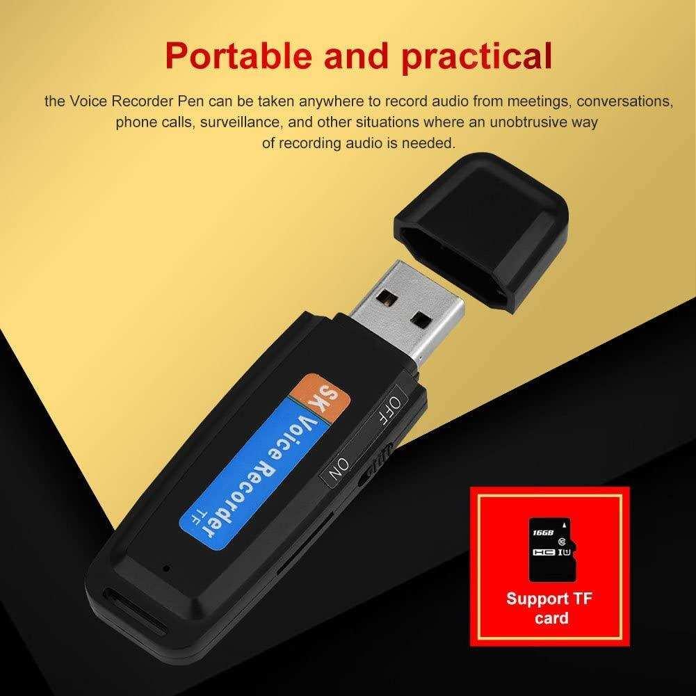 USB Flash  Dijital Ses Kaydedici TF Kaydı - Siyah