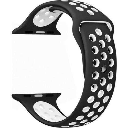 Apple Watch 44 mm Delikli Spor Silikon Kordon Kayış Siyah - Beyaz