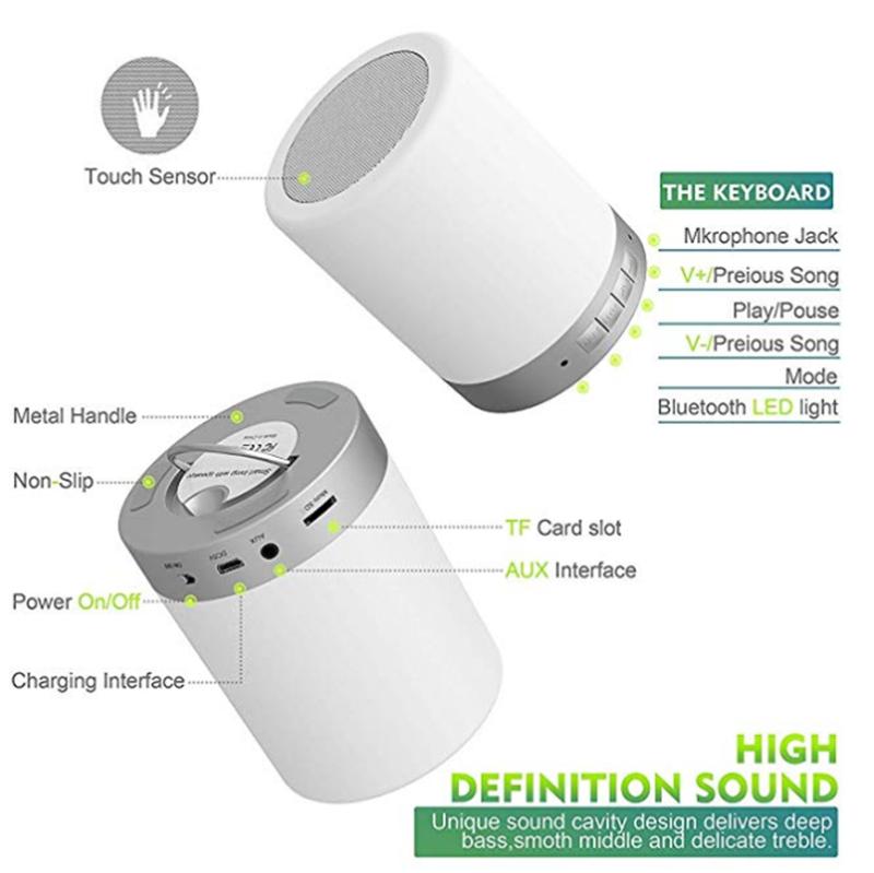 Led akıllı müzik lamba ve dokunmatik sensörü ile bluetooth hoparlör renkli taşınabilir gece lambası