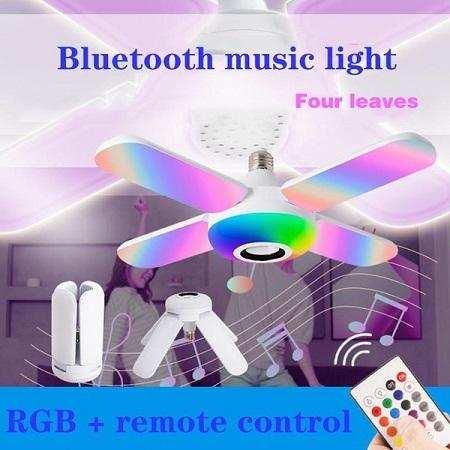 Akıllı Hoparlör Katlanır Deformasyon Işığı, LED Fan Müzik Ampulü, Dahili Bluetooth Hoparlörlü