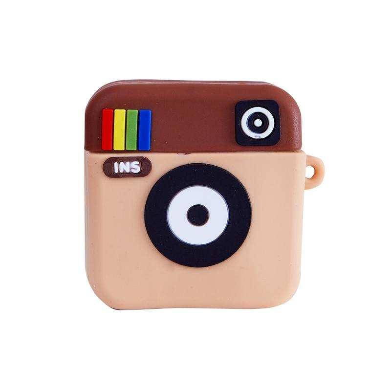 Apple Airpods 1-2 serisi İçin Instagram Logolu Sevimli Silikon Kılıf