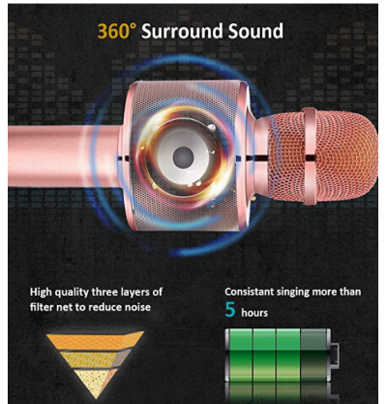 Sihirli Karaoke Mikrofon Taşıma Çantalı USB Bluetooth Hoparlör