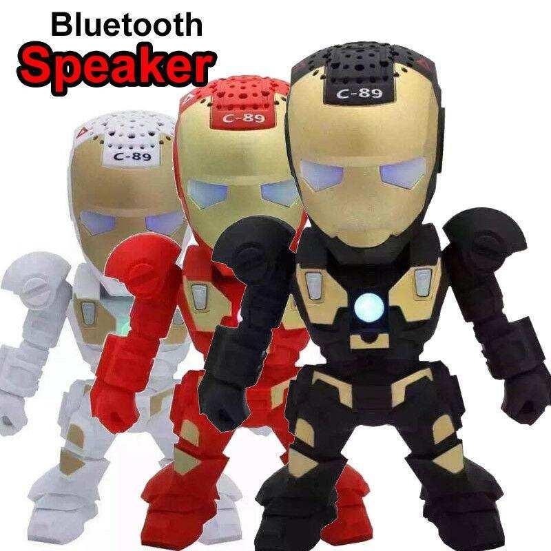 LED Işıklı  Mini Taşınabilir Hoparlör Robot Robot C89-Siyah