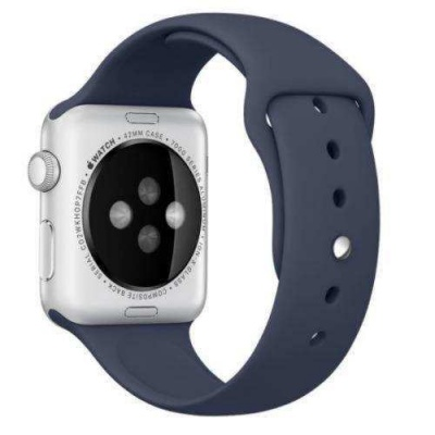 Apple Watch 42mm ve 44mm Silikon Kordon Kayış-Mavi