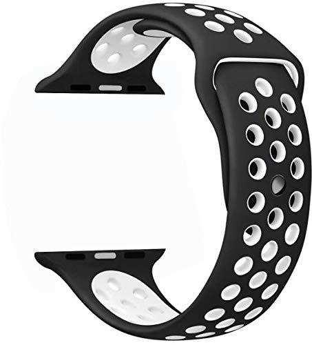 Apple Watch 42-44 mm için Siyah Beyaz Delikli Silikon Kordon