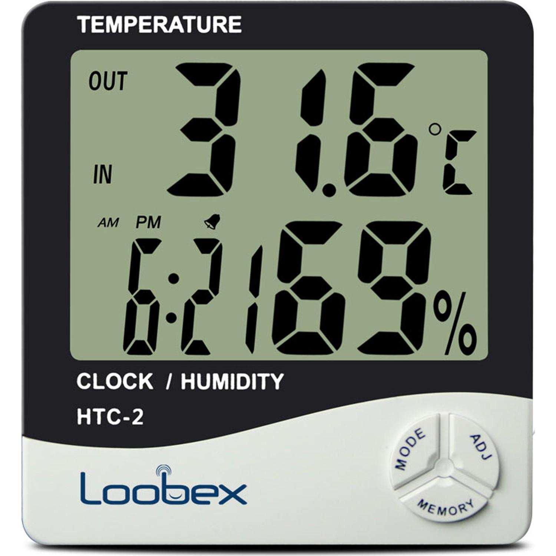 Loobex  Dijital Nem ve Sıcaklık Ölçer - Higrometre-Termometre-Saat