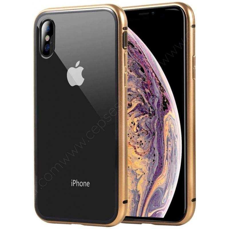 iPhone X  Kılıf Mıknatıslı 360 Tam Koruma Cam Kapak Gold