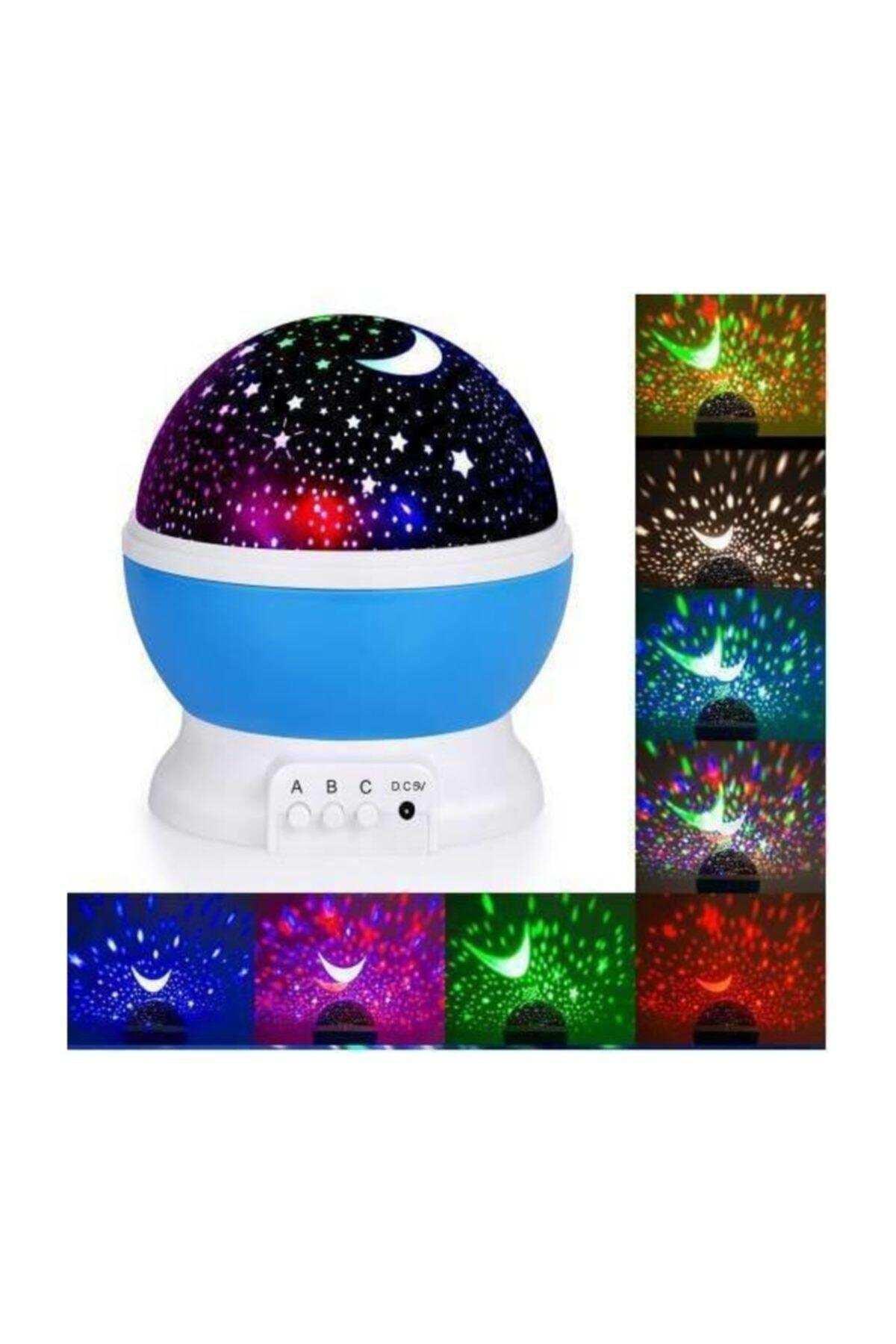 Renkli Yıldızlı Gökyüzü Projeksiyon Gece Lambası Masa Lambası Gökyüzü Ay Yıldız Lamba