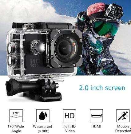 Full Hd 1080P HD Su Geçirmez Aksiyon Kamerası Siyah