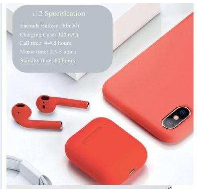Inpods Tws  Dokunmatik Bluetooth Kulaklık 5.0 Versiyon-Kırmızı