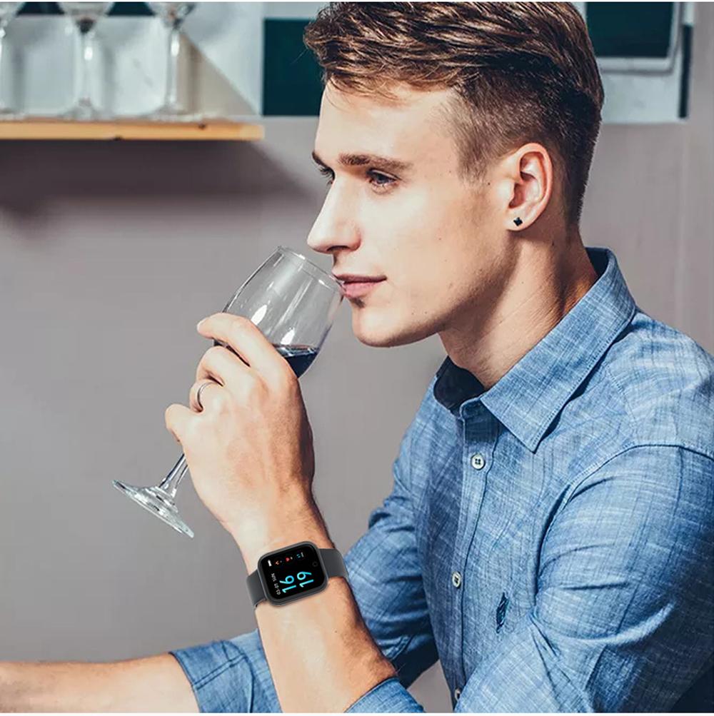 Çelik Smartwatch  su geçirmez akıllı saat T80-Siyah Metal Kayış -Hediye Silikon Kayış