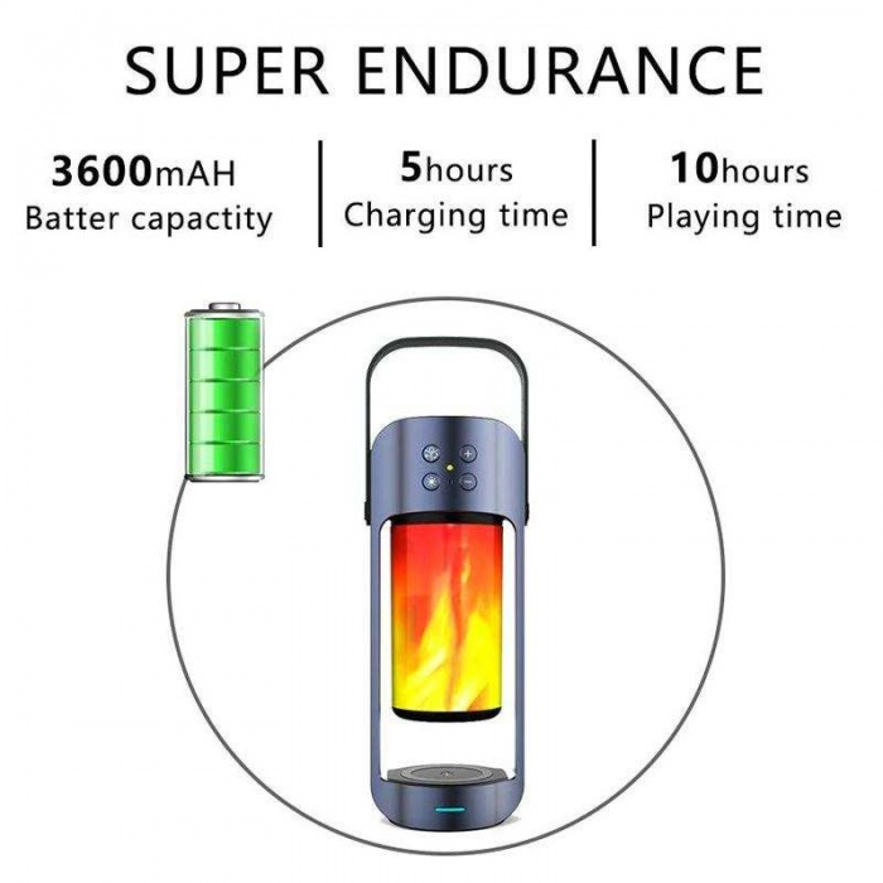 LED alev lamba bt hoparlör ile 10 W qi kablosuz şarj