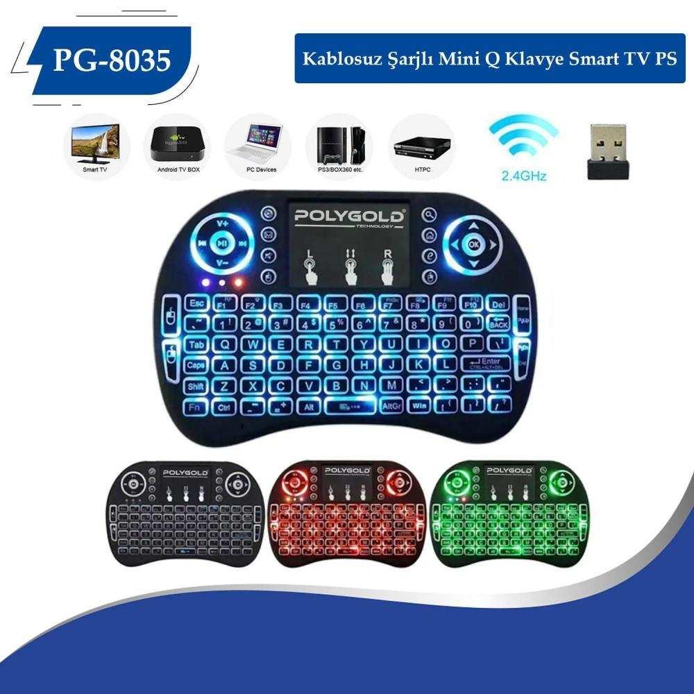 POLY GOLD PG-8035 Kablosuz Şarjlı Mini Q Klavye Smart TV PS