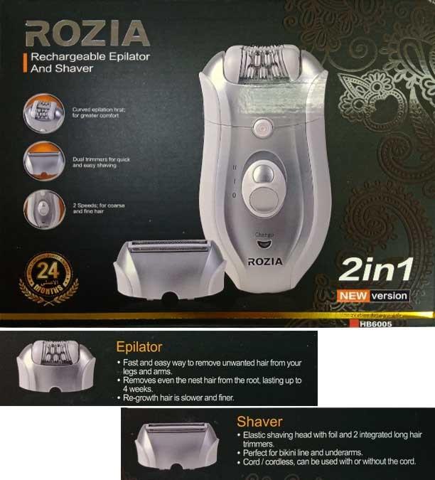 Rozia 2si 1 Arada Çift Hızlı Şarj Edilebilir Epilatör