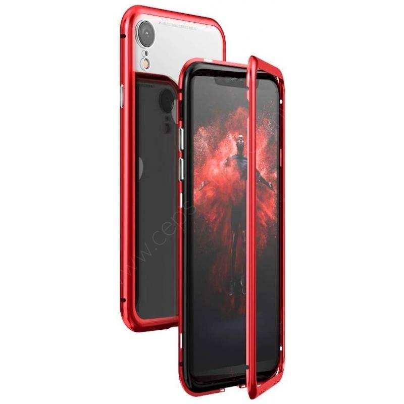 iPhone X Kılıf Mıknatıslı 360 Tam Koruma Cam Kapak Kırmızı