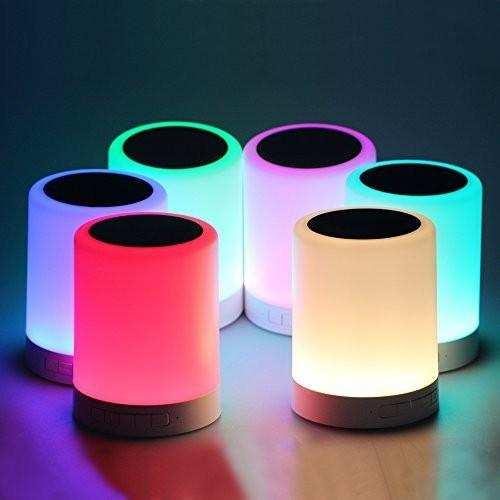 Dokunmatik sensörü ile bluetooth hoparlör renkli taşınabilir gece lambası