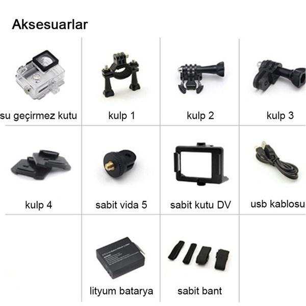 Siyah  1080p Hd Su Geçirmez Aksiyon Kamerası
