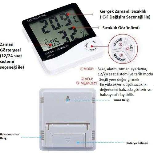 Htc-1 Dijital Termometre Sıcaklık ve Nem Ölçer Masa Saati Alarm