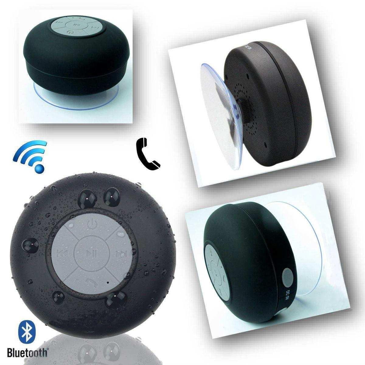 Su Geçirmez Mini Bluetooth Duş Hoparlörü (Siyah)